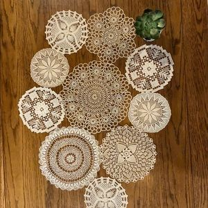 Set of 10 Handmade Vintage Doilies Various sizes